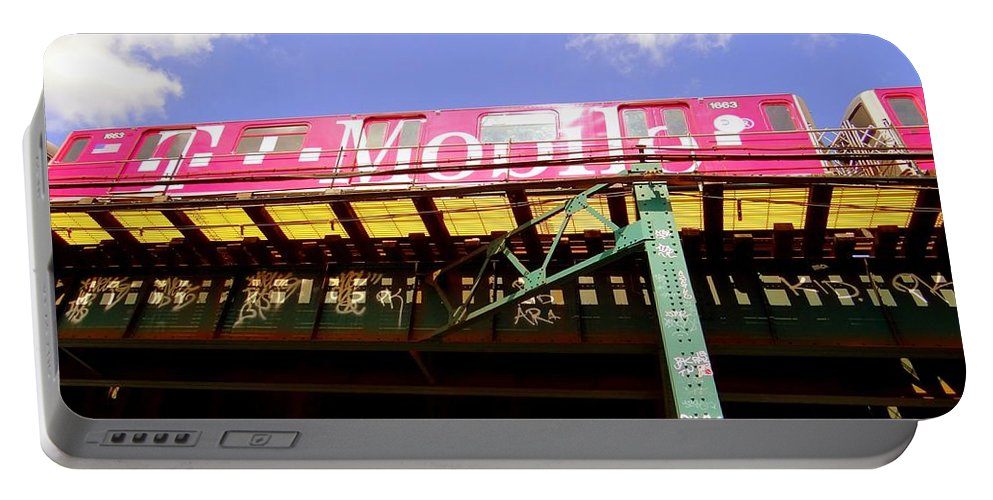 The El Portable Battery Charger featuring the photograph Pink Train by Ed Weidman