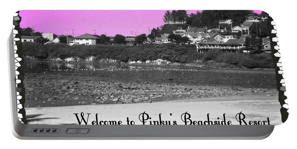 Pink Portable Battery Charger featuring the photograph Pinky's Beachside Resort by Absinthe Art By Michelle LeAnn Scott