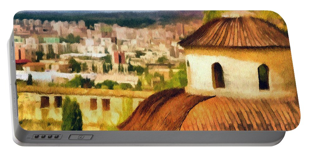 Chapel Portable Battery Charger featuring the painting Pious Witness To The Passage Of Time by Jeffrey Kolker