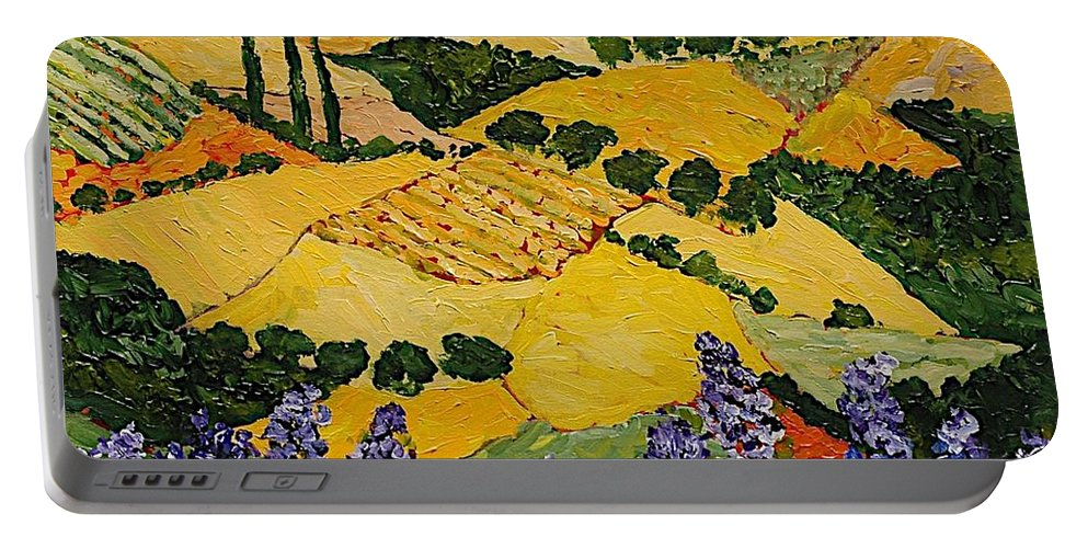 Landscape Portable Battery Charger featuring the painting Piping Hot by Allan P Friedlander