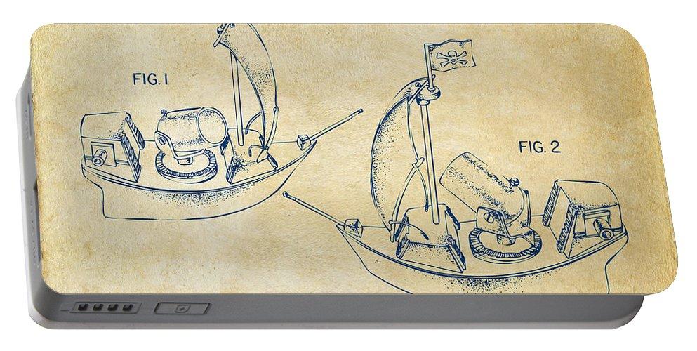 Pirate Portable Battery Charger featuring the digital art Pirate Ship Patent Artwork - Vintage by Nikki Marie Smith