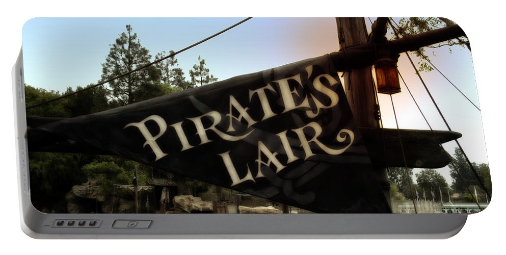 Disney Portable Battery Charger featuring the photograph Pirates Lair Signage Frontierland Disneyland by Thomas Woolworth