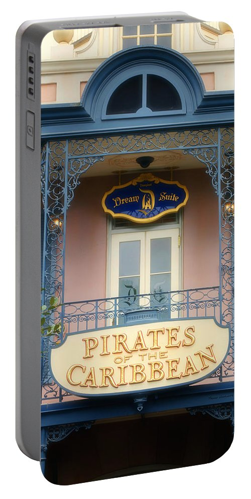 Disney Portable Battery Charger featuring the photograph Pirates Signage New Orleans Disneyland by Thomas Woolworth