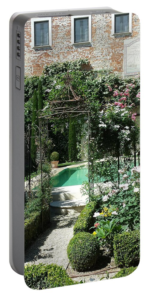 Swimming Pool Portable Battery Charger featuring the photograph Piscina In Giardino by Tila Gun