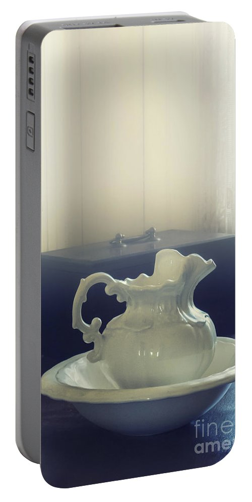 White Portable Battery Charger featuring the photograph Pitcher And Basin by Margie Hurwich
