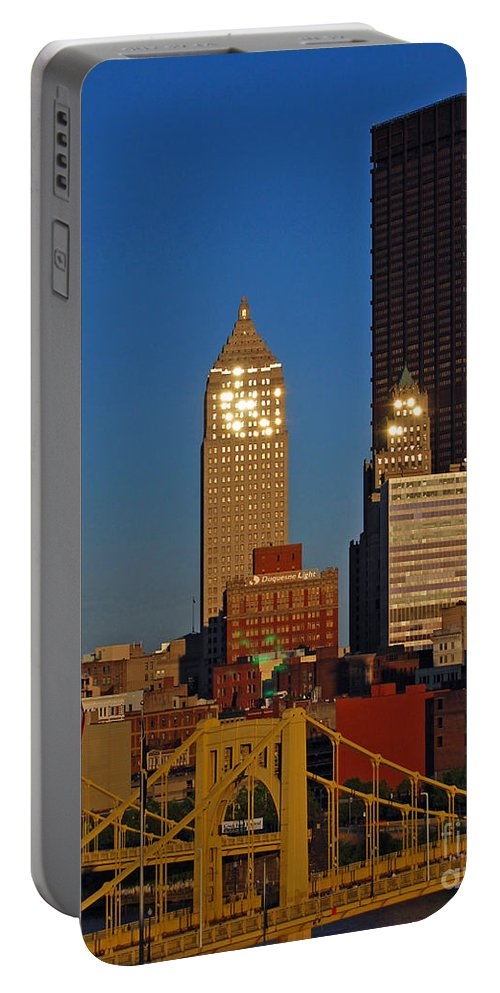 Pittsburgh Portable Battery Charger featuring the photograph Pittsburg At Dusk by Stephen Whalen