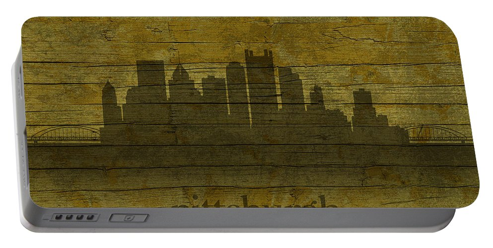 Pittsburgh Portable Battery Charger featuring the mixed media Pittsburgh Pennsylvania City Skyline Silhouette Distressed On Worn Peeling Wood by Design Turnpike