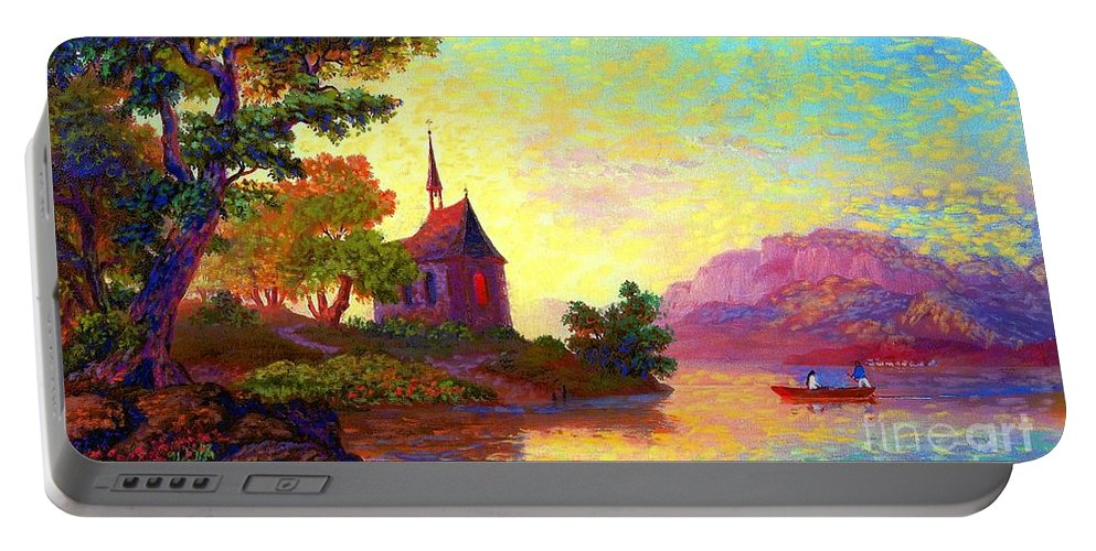 Church Portable Battery Charger featuring the painting Beautiful Church, Place Of Welcome by Jane Small