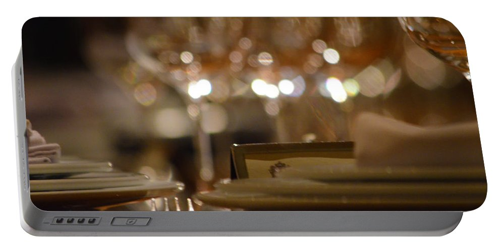 Portable Battery Charger featuring the photograph Place Setting 1 by Deprise Brescia