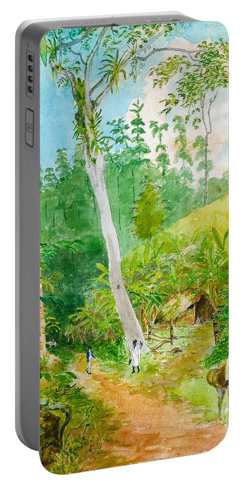 William Berryman Portable Battery Charger featuring the digital art Plantain Walk Watchman And Hut by William Berryman
