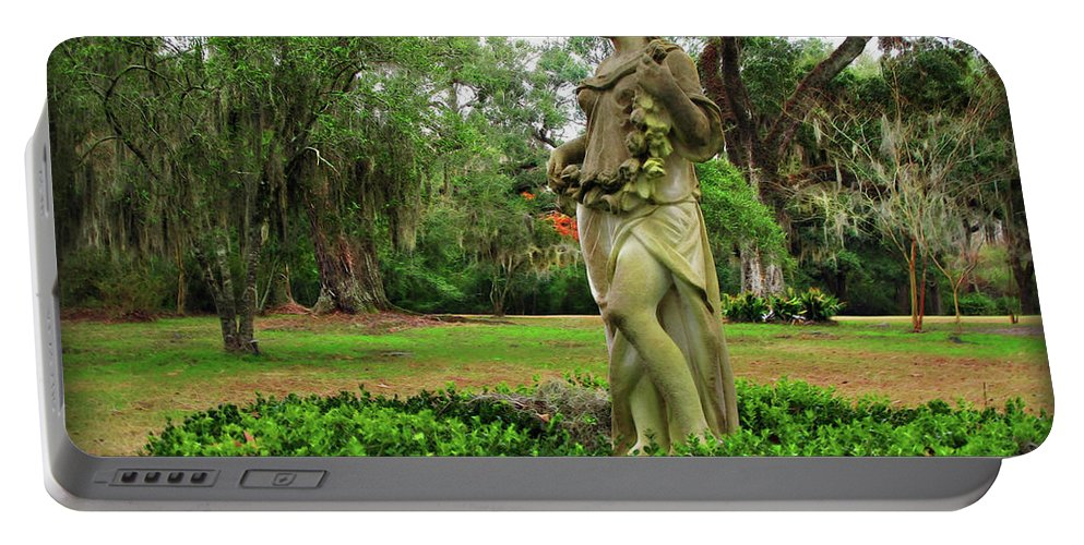 Plantation Portable Battery Charger featuring the digital art Plantation Garden New Orleans by Joan Minchak