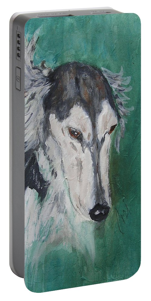 Saluki Portable Battery Charger featuring the painting Plato Found by Cori Solomon