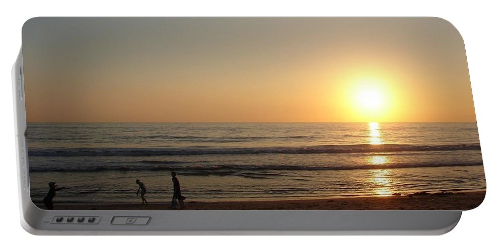 Sunset Portable Battery Charger featuring the photograph Play On California Beach by Keisha Marshall