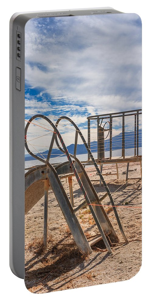 Salton Sea Portable Battery Charger featuring the photograph Play Time Is Over Slide Playground by Scott Campbell
