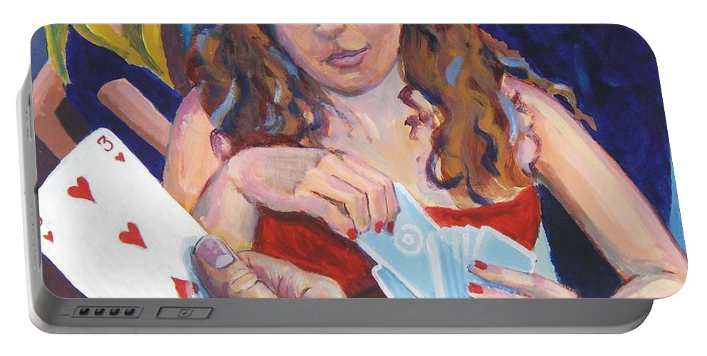 Woman Portable Battery Charger featuring the painting Playing Cards by Mike Jory