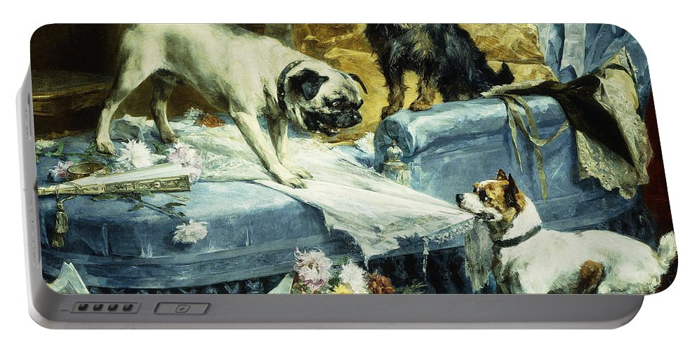 1890s Portable Battery Charger featuring the painting Playing Havoc by Charles van den Evcken