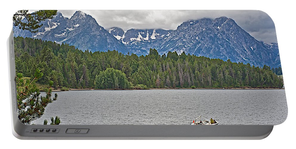 Playing In Colter Bay In Grand Teton National Park Portable Battery Charger featuring the photograph Playing In Colter Bay In Grand Teton National Park-wyoming by Ruth Hager