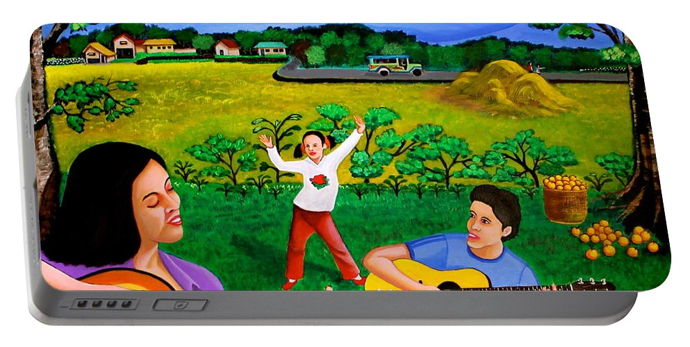 Guitar Portable Battery Charger featuring the painting Playing Melodies Under The Shade Of Trees by Cyril Maza