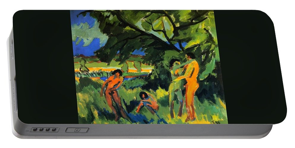 1910 Portable Battery Charger featuring the painting Playing Nudes Under Trees by Ernst Ludwig Kirchner