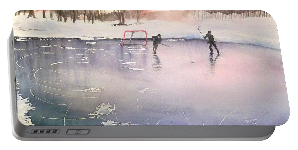 Ice Hockey Portable Battery Charger featuring the painting Playing On Ice by Yoshiko Mishina