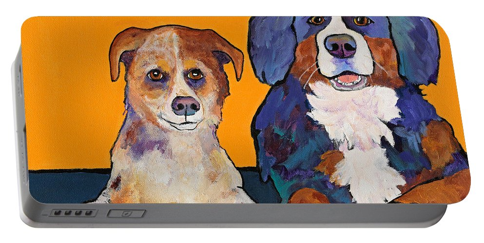 Pat Saunders-white Portable Battery Charger featuring the painting Playmates by Pat Saunders-White
