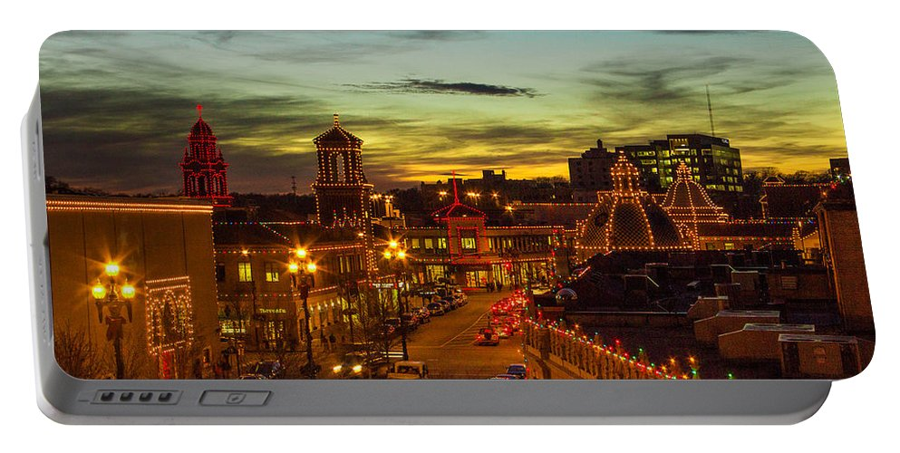 Steven Bateson Portable Battery Charger featuring the photograph Plaza Lights At Sunset by Steven Bateson