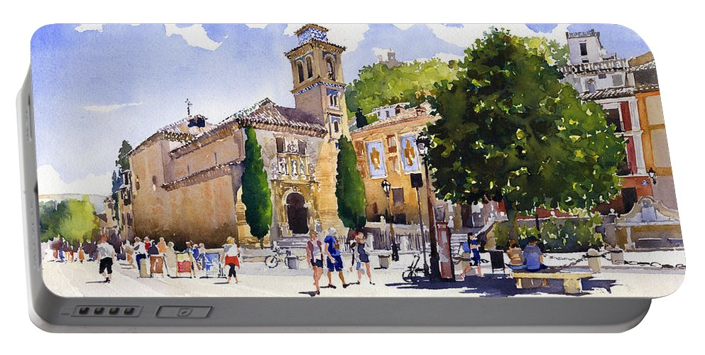 Plaza Nueva Portable Battery Charger featuring the painting Plaza Nueva by Margaret Merry