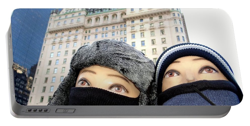 Mannequins Portable Battery Charger featuring the photograph Plaza Peering by Ed Weidman