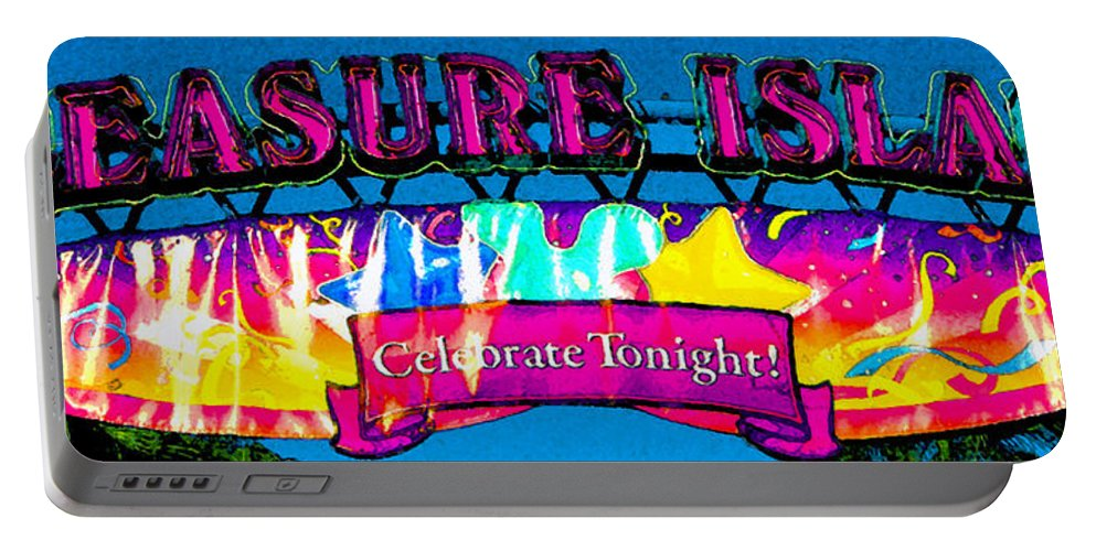 Pleasure Island Downtown Disney Florida Portable Battery Charger featuring the painting Pleasure Island Celebrate Tonight by David Lee Thompson