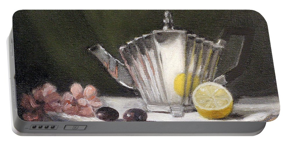 Silver Teapot Portable Battery Charger featuring the painting Pleated Teapot With Lemon by Sarah Parks