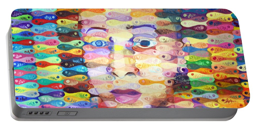 Fish Portable Battery Charger featuring the painting Plenty Of Fish by Jasleni Brito