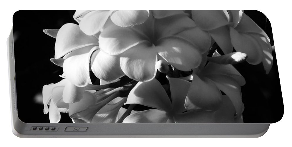 Bali Portable Battery Charger featuring the photograph Plumeria Black White by Andrea Anderegg