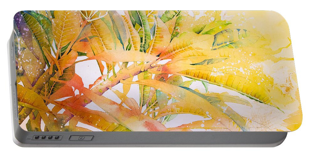 Plumeria Portable Battery Charger featuring the painting Plumeria Fireworks by Penny Taylor-Beardow