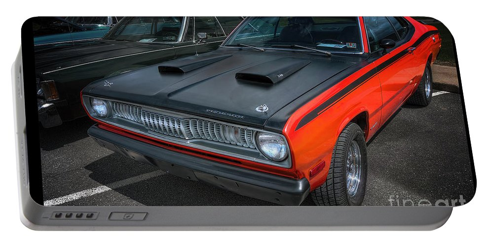 Plymouth Duster 340 Portable Battery Charger featuring the photograph Plymouth Duster 340 by David B Kawchak Custom Classic Photography