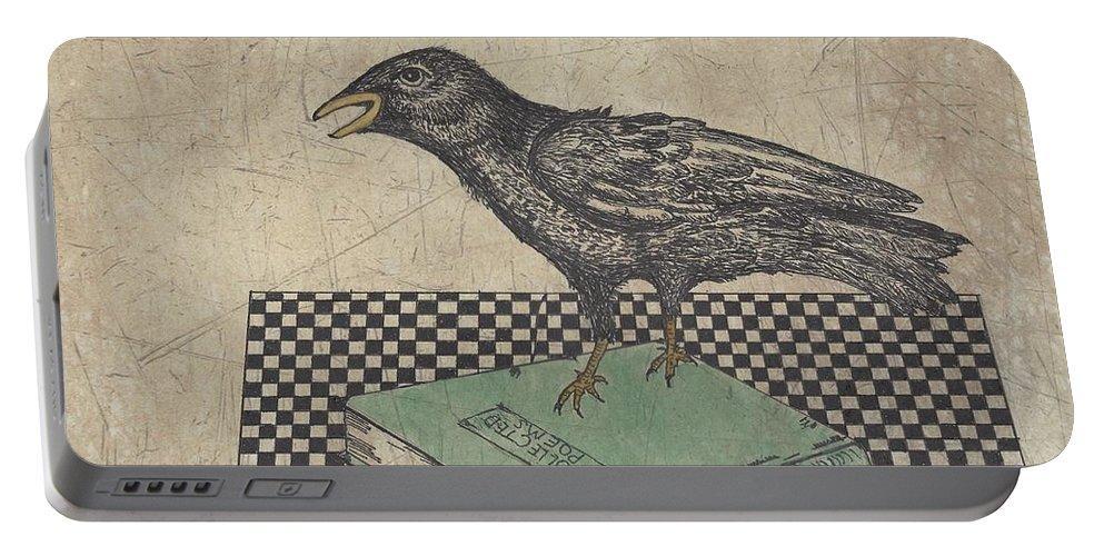 Crow Portable Battery Charger featuring the drawing Poe And The Crow by Terry Fleckney