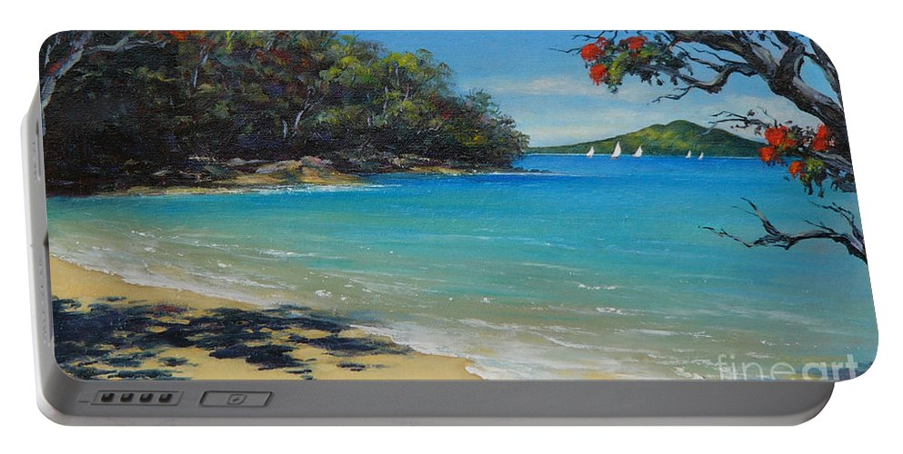 Seascape Portable Battery Charger featuring the painting Pohutukawa Nz - Beach And Rangitoto by Jennifer Cruden