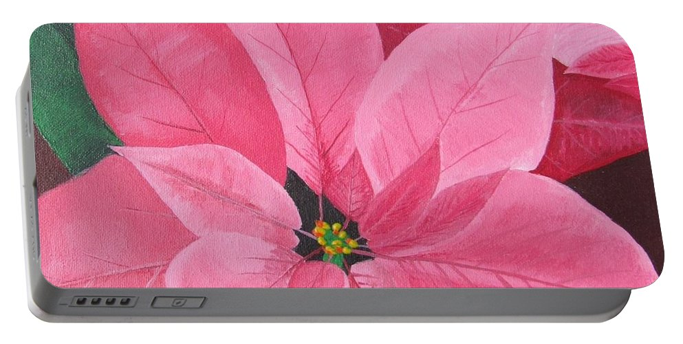 Poinsettia Portable Battery Charger featuring the painting Poinsettia by Sally Rice
