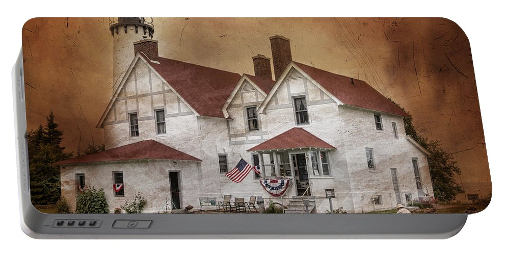 Lighthouse Portable Battery Charger featuring the photograph Point Iroquois Lighthouse Michigan by Evie Carrier
