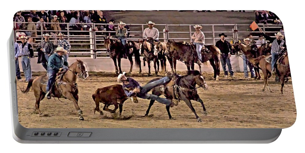 Cowtown Rodeo Bull Dogging Cowboy Horses Steer Cow Portable Battery Charger featuring the photograph Point Of No Return by Alice Gipson