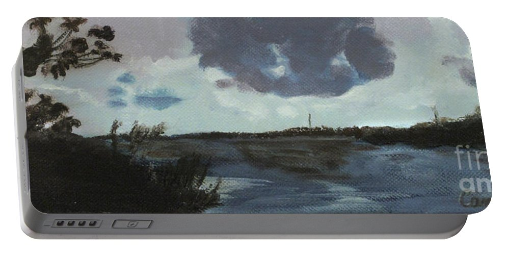 Blue Skies Portable Battery Charger featuring the painting Pointe Aux Chein Blue Skies by Carol Oufnac Mahan