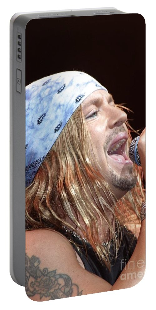 Brett Michaels Portable Battery Charger featuring the photograph Poison by Concert Photos