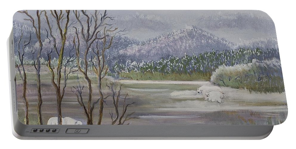 Lavender Portable Battery Charger featuring the painting Polar Bears Crossing by Gladys Berchtold