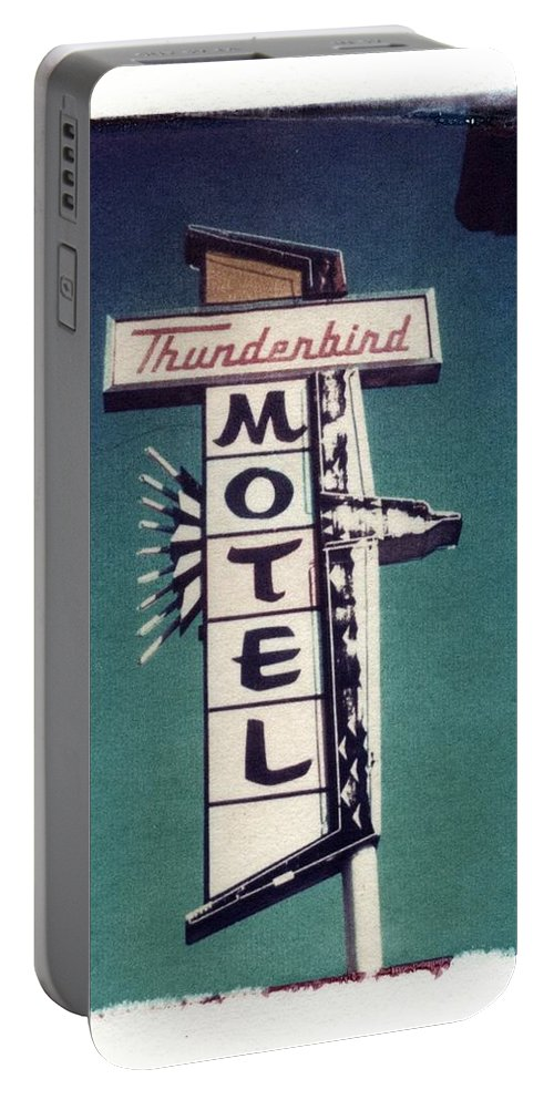 Motel Portable Battery Charger featuring the photograph Polaroid Transfer Motel by Jane Linders