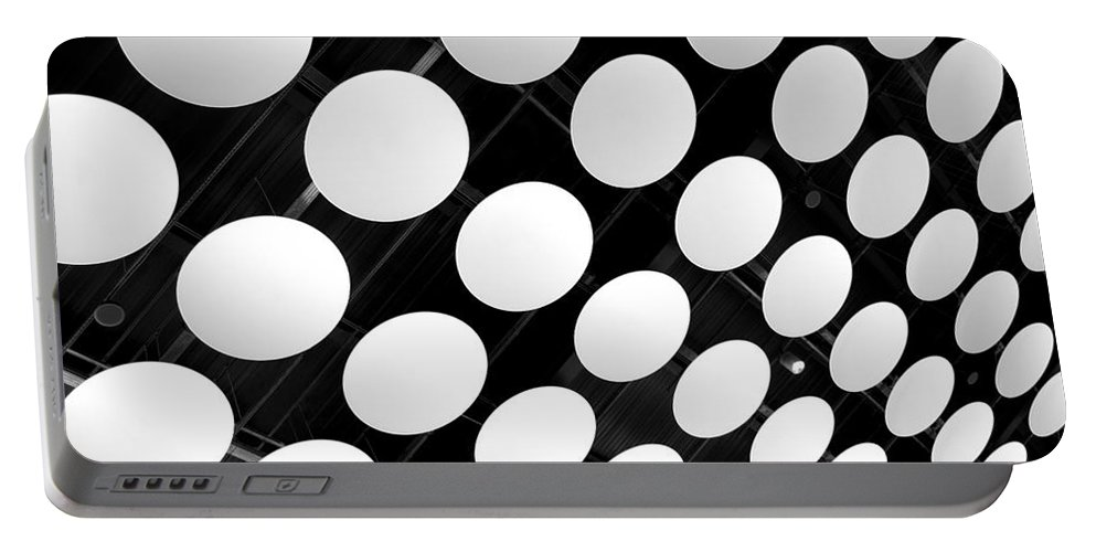 Ceiling Portable Battery Charger featuring the photograph Polka Dots by Ann Horn