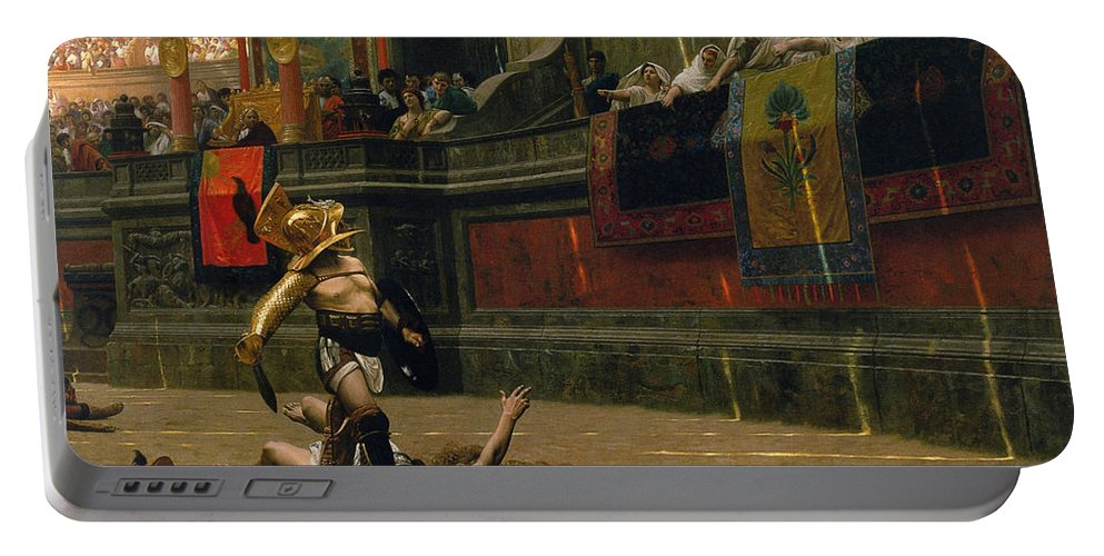 Pollice Verso Portable Battery Charger featuring the painting Pollice Verso by War Is Hell Store
