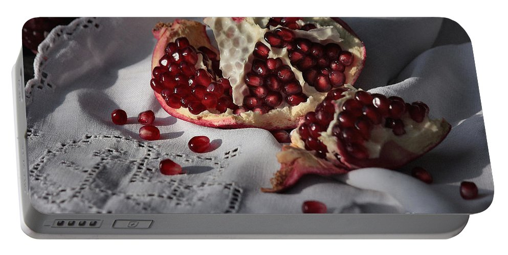 Pomegranate Portable Battery Charger featuring the photograph Pomegranate Seed by Luv Photography