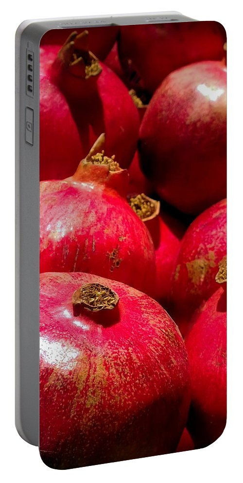 Pomegranates Portable Battery Charger featuring the photograph Pomegranates by Karen Wiles