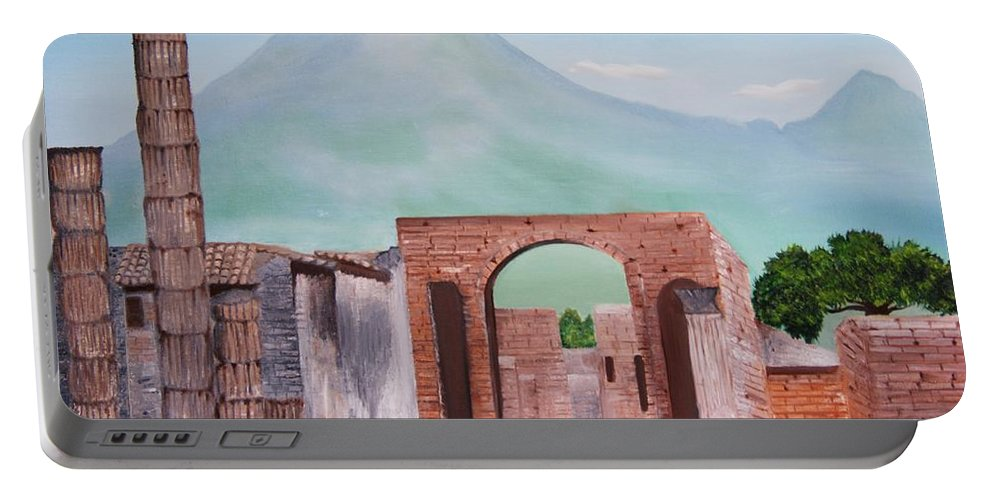 Landscape Portable Battery Charger featuring the painting Pompeii And Vesuvius  by Misuk Jenkins