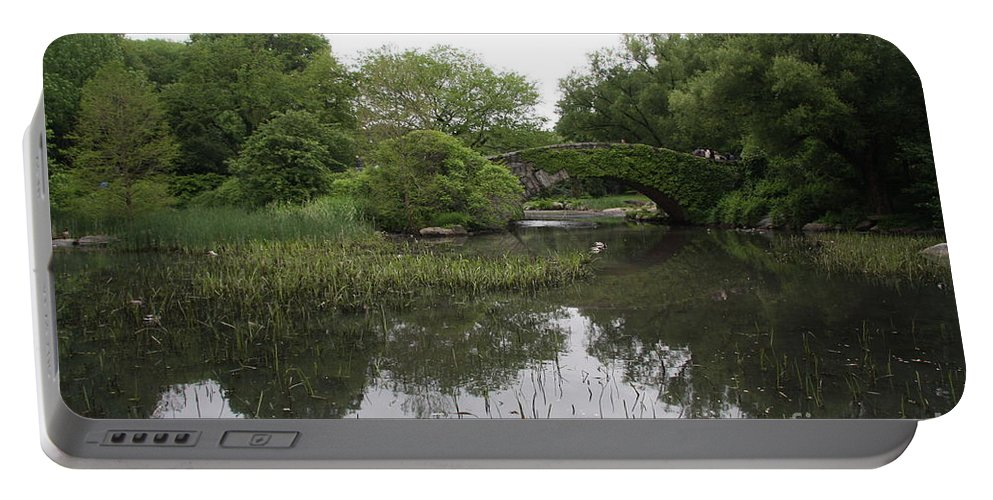 Pond Portable Battery Charger featuring the photograph Pond And Bridge by Christiane Schulze Art And Photography