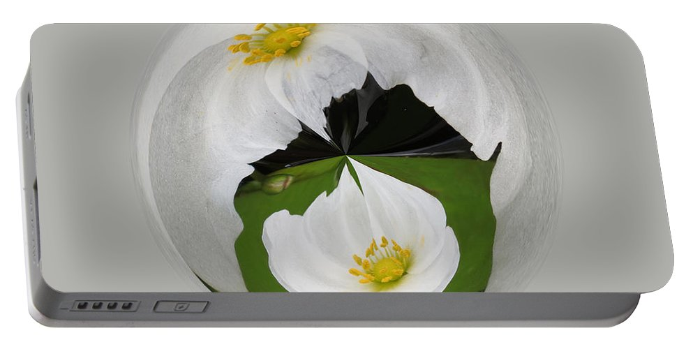 Orb Portable Battery Charger featuring the photograph Pond Flower Orb by Darleen Stry
